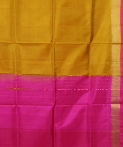 Mustard and Pink Khadi Handloom Silk Saree