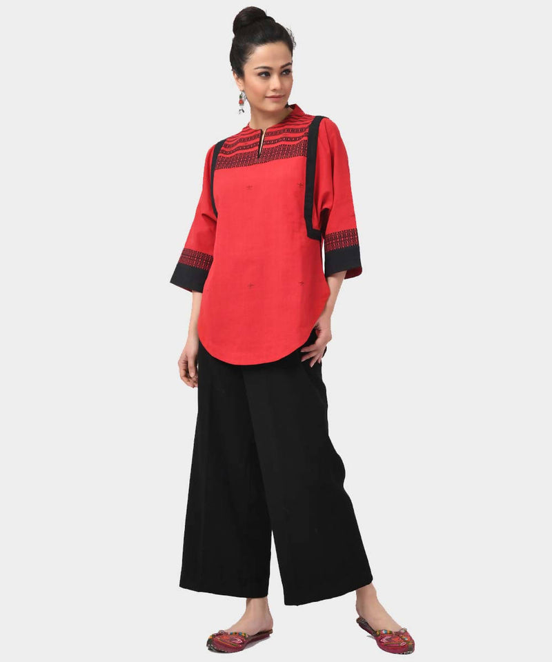 Red Handloom Extraweft Cotton Short Kurta