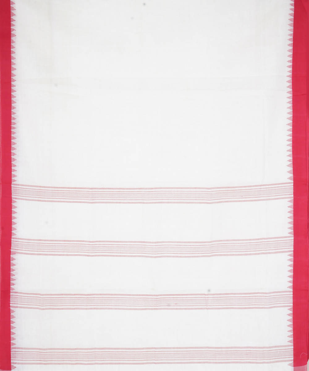 Handloom Off White Red Kuppadam Cotton Saree