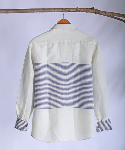 White blue engineered collared shirt