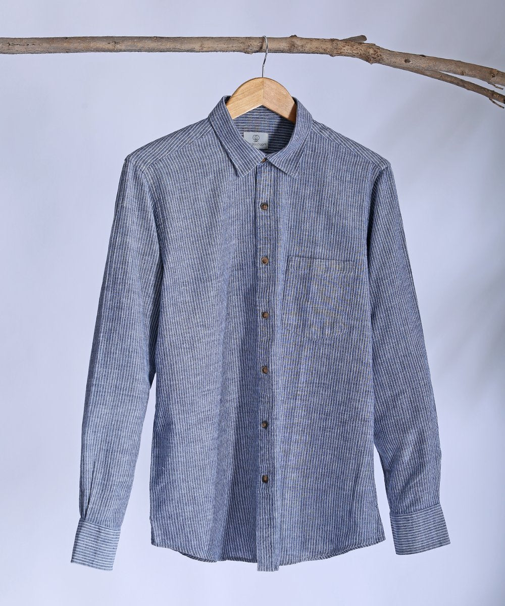 Indigo blue striped collared shirt