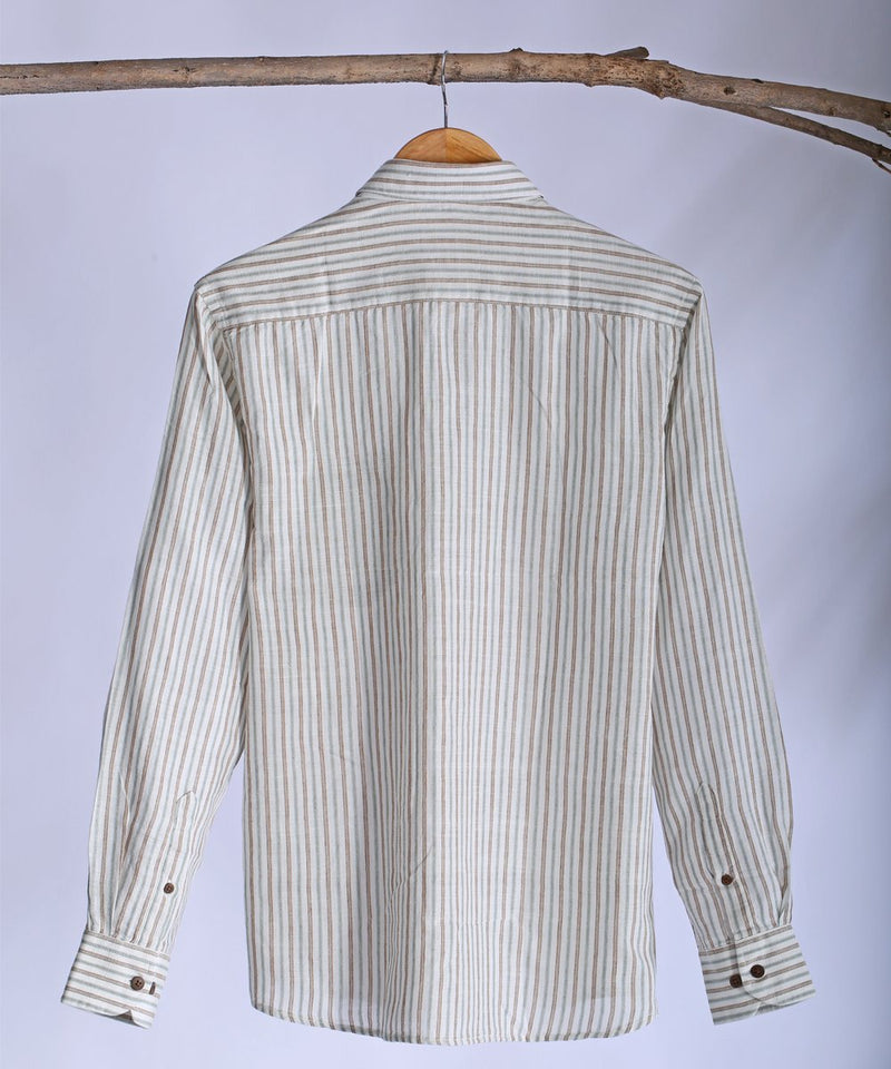 White striped collared shirt