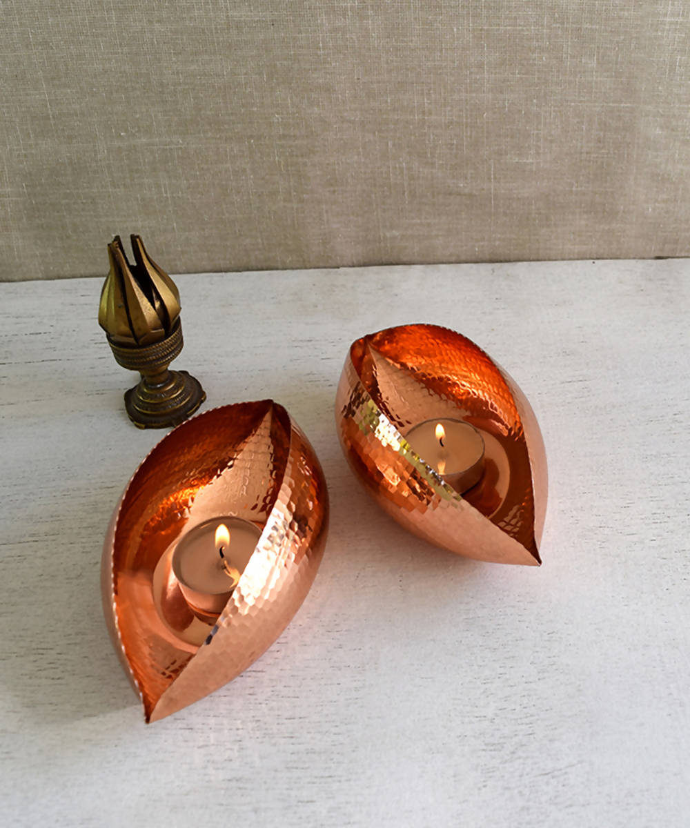 Handmade copper pod tea light