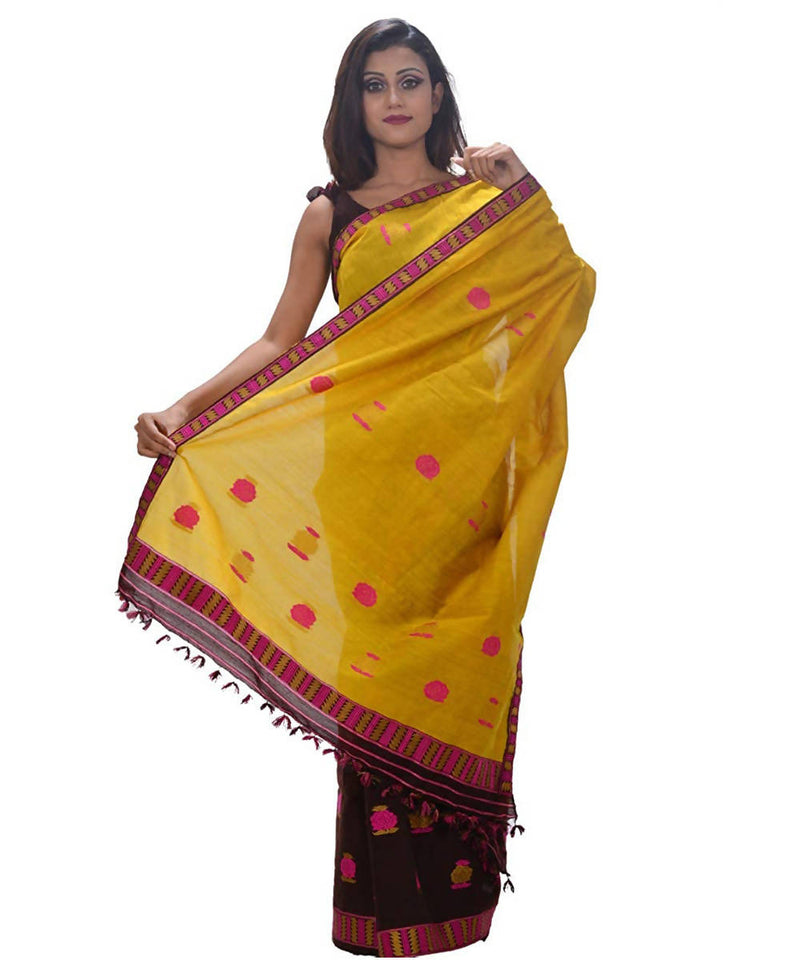 Yellow and Chocolate Brown Handwoven Cotton Mekhela Chadar