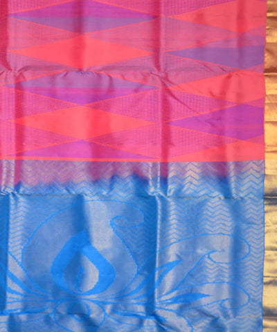 Pink Blue Handloom Soft Silk Saree