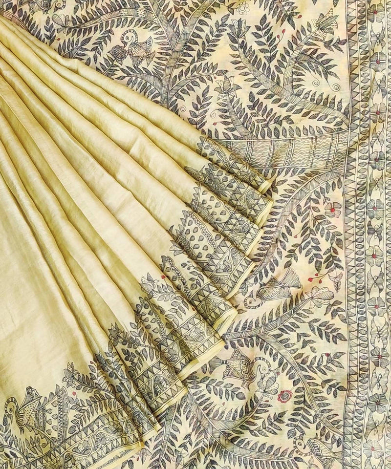 Madhubani Hand Painted Cream Tussar Saree