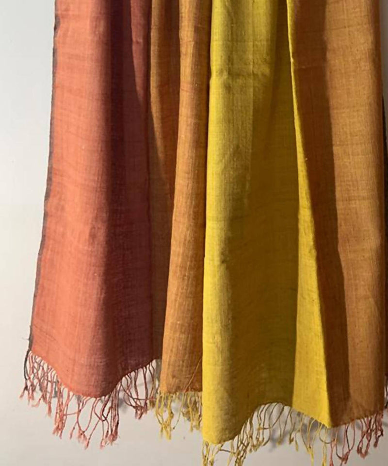 Yellow rust natural dyed assamese eri silk handwoven stole