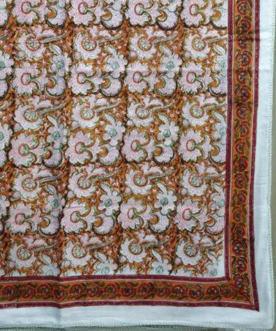 Red Orange Floral Handblock Print White Cotton Double Dohar