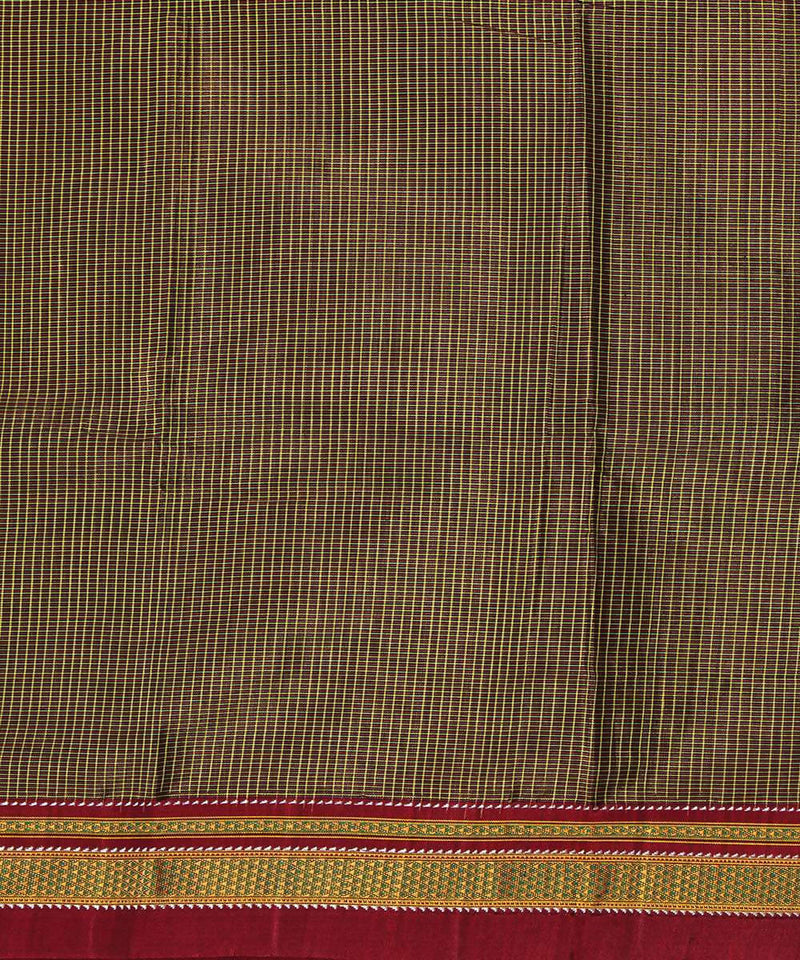 Peanut brown handwoven magenta gomi dadi border ilkal saree