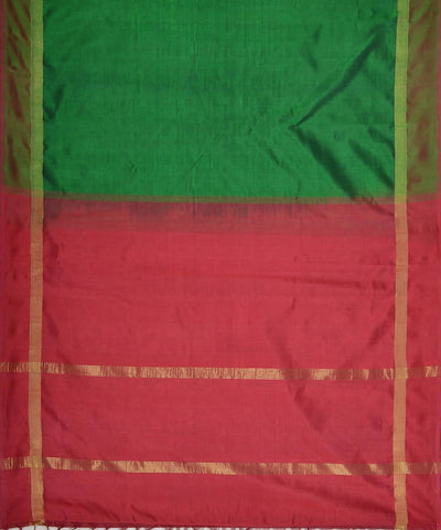 Bottle green and maroon kanjivaram silk cotton saree