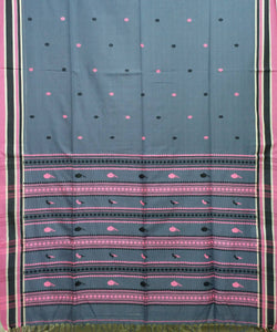 Bluish Grey Handloom Mercerised Cotton Bengal Saree