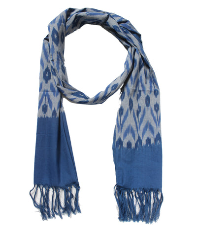 Blue and Grey Handloom Ikat Cotton Stole