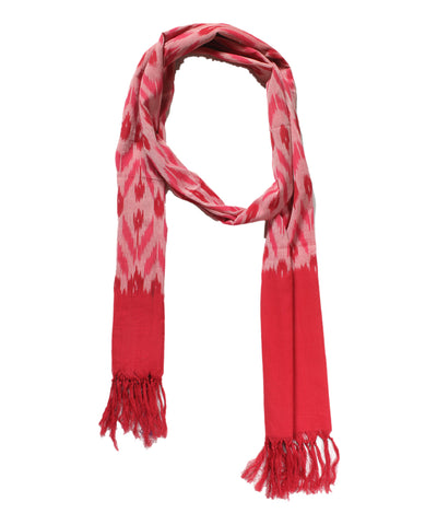 Red and Light Pink Handloom Ikat Cotton Stole
