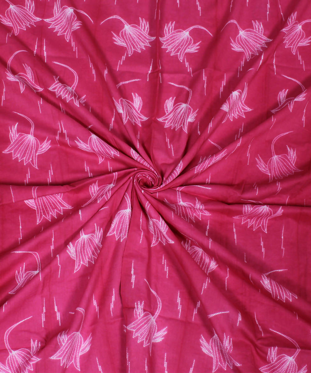 Pink Shibori Printed Cotton Kurta Fabric