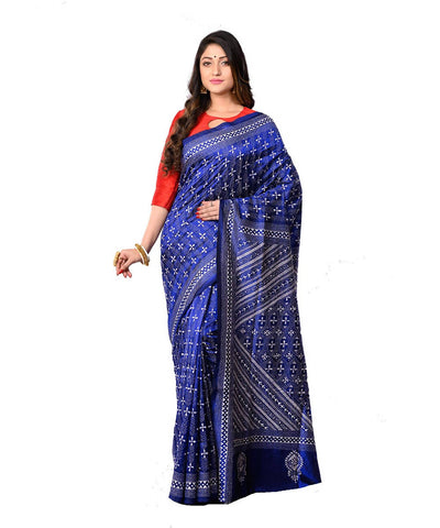 Kantha Stitch Blue Bengal Handwoven Saree