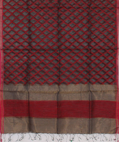 Bengal Handwoven Black and Red Sico Dupatta