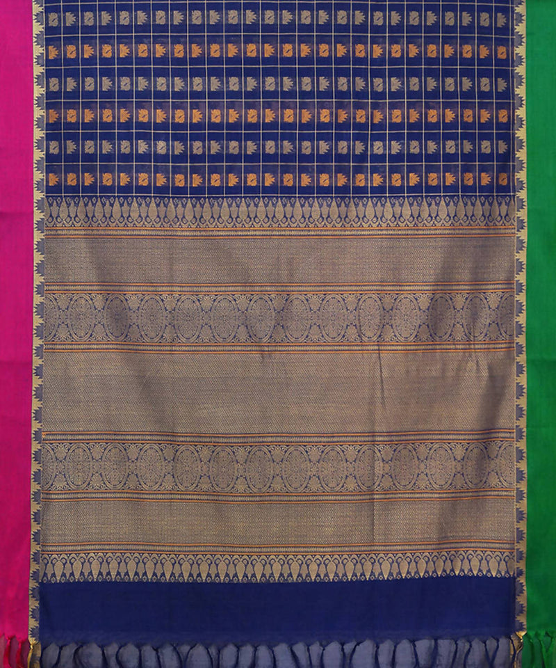 Navy Blue Handloom Thousand Butta Saree