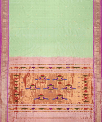 Mint Green Handloom Paithani Silk Saree