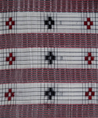 White Check Pasapalli ikat Handwoven Cotton Fabric Material