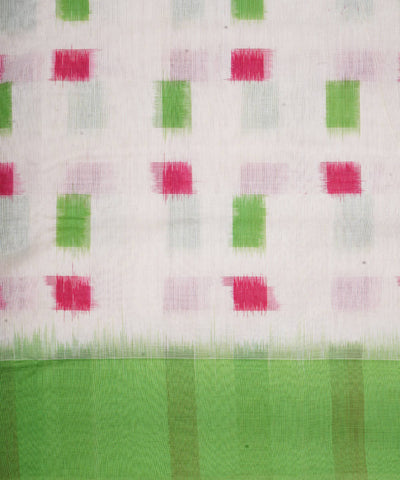White Green Handloom Pochampally Cotton Saree