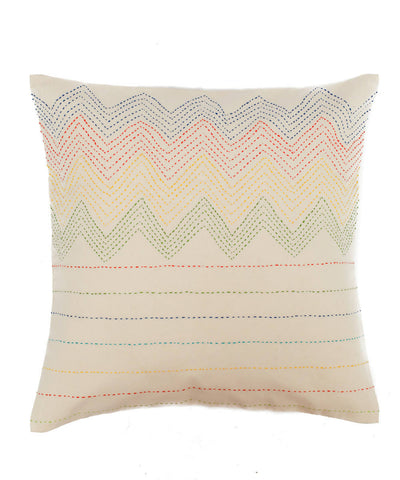 White Hand Embroidered Cotton Cushion Cover