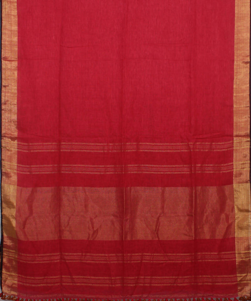 Bengal Handloom Red Linen Saree