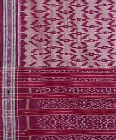Offwhite and Pink Nuapatna Handwoven Cotton Saree