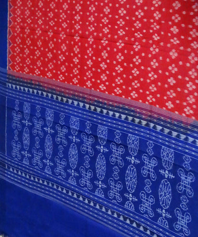 Red Blue Sambalpuri Handloom Cotton Dupatta