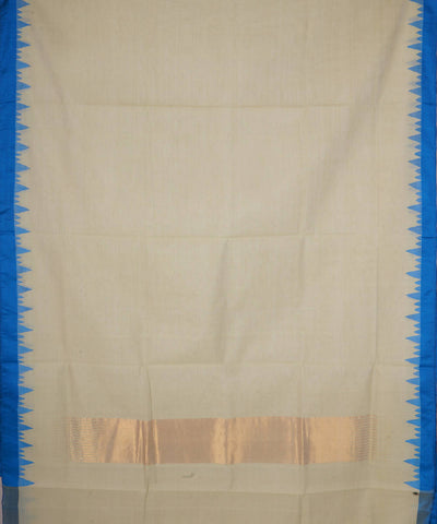 Cream And Blue Handloom Kuppadam Cotton Saree