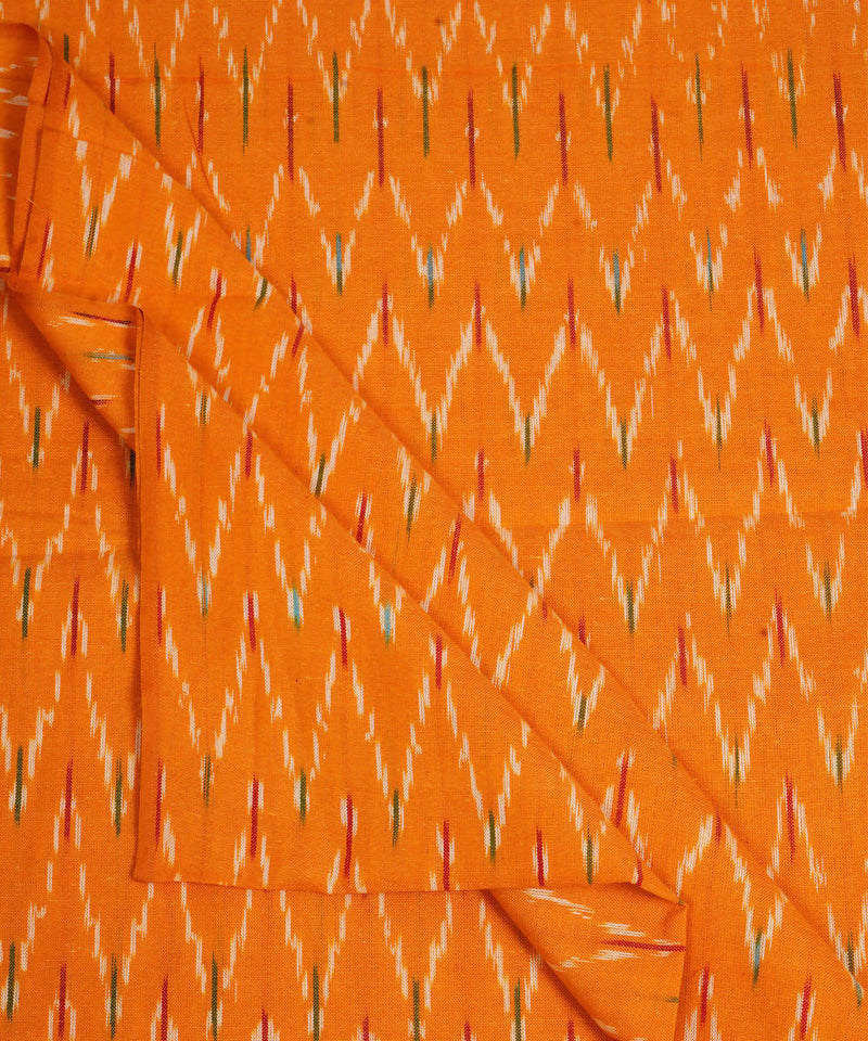 Yellow Handloom Pochampally Ikkat Fabric