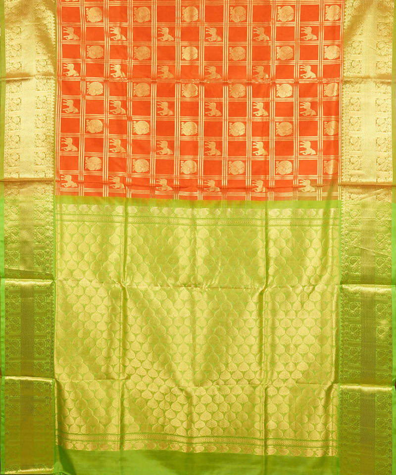 Orange Handwoven venkatagiri Silk Saree