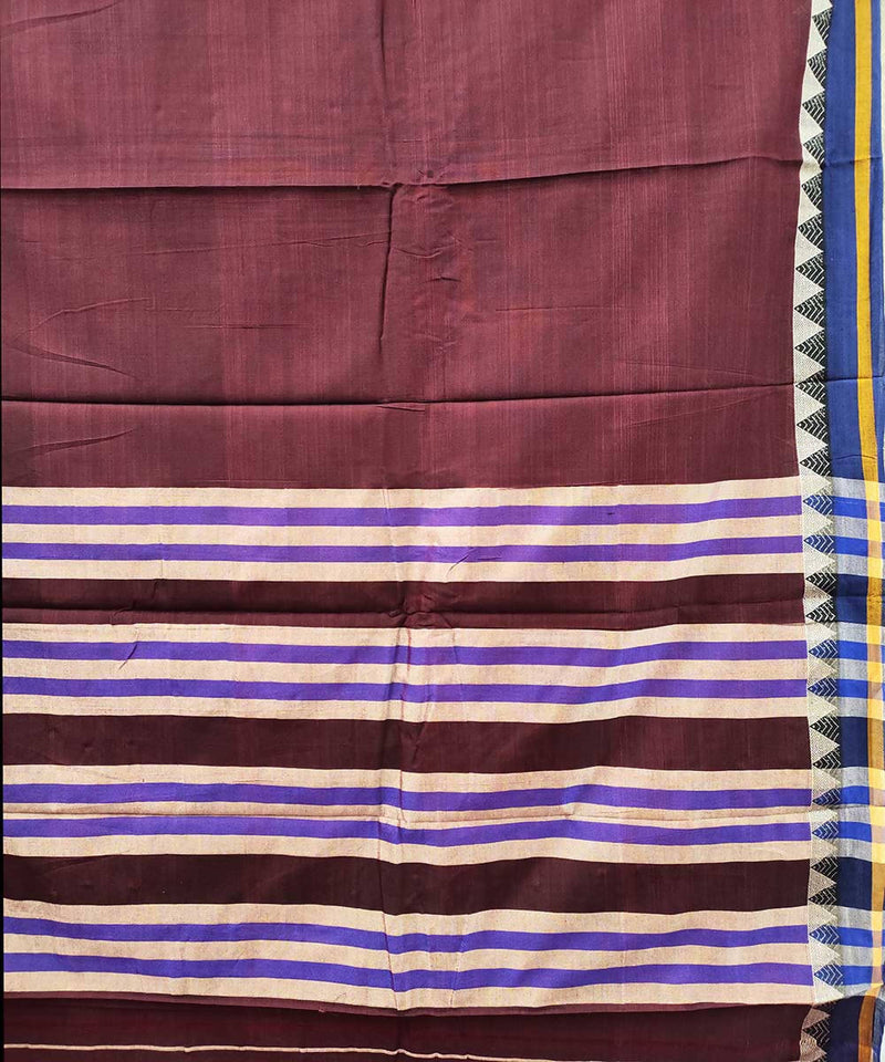 Maroon brown narayanpet handwoven cotton saree