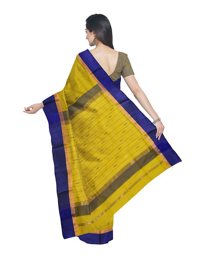 Maheshwari Handloom Yellow Blue Sico Saree