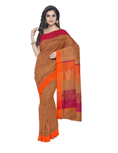 Maheshwari Handloom Brown Check Sico Saree