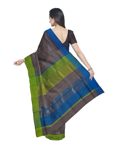 Maheshwari Handloom Grey Checks Sico Saree