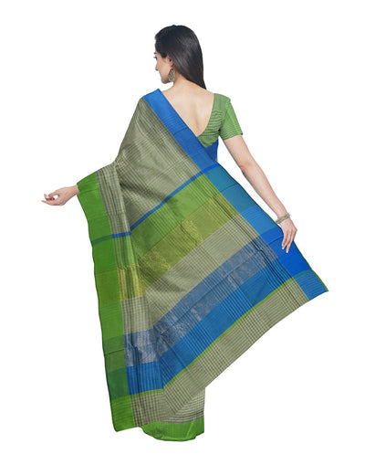 Green Checks Maheshwari Handloom Sico Saree