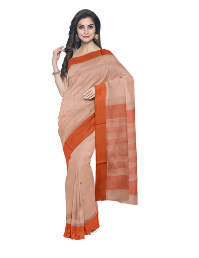 Maheshwari Handloom Light Orange Sico Saree