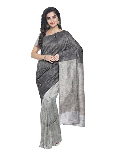Bengal Grey Matka Silk Handloom Saree