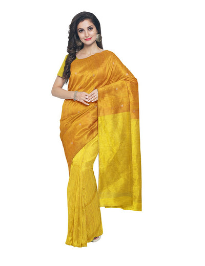 Bengal Yellow Matka Silk Handloom Saree