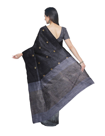 Bengal Black Matka Silk Handloom Saree