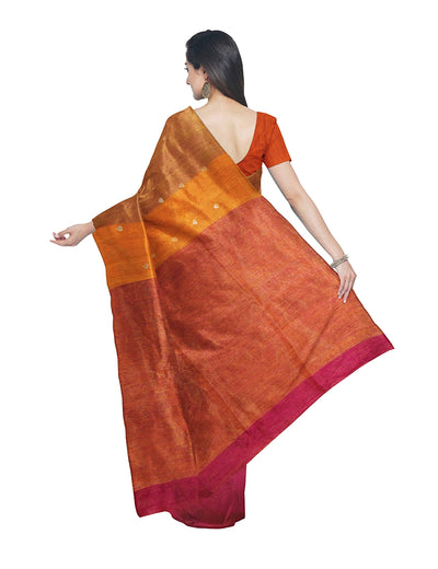 Bengal Brown Orange Matka Silk Handloom Saree