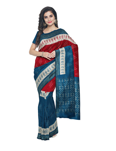 Pochampally Blue Red Handwoven Cotton Saree