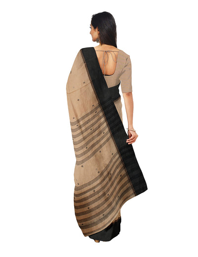 Beige Handwoven Begumpuri Cotton Saree