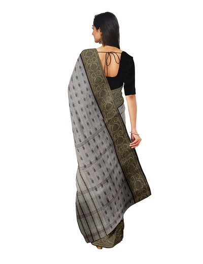 Off White Handwoven Bengal Tant Cotton Saree