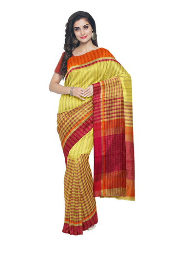 Maheshwari Stripes Checks Handloom Sico Saree