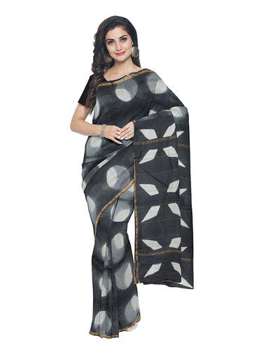 Chanderi White and Black Printed Saree