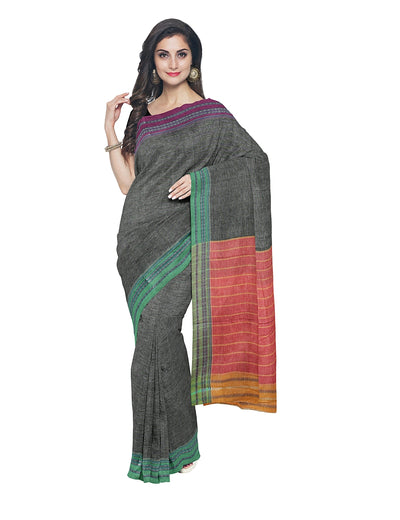 Dark Grey Handloom Hubli Cotton Saree