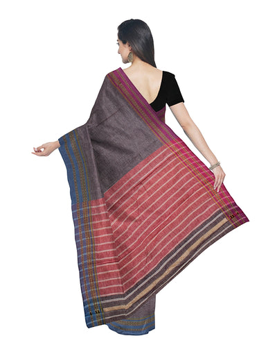 Light Grey Pink Handloom Hubli Cotton Saree