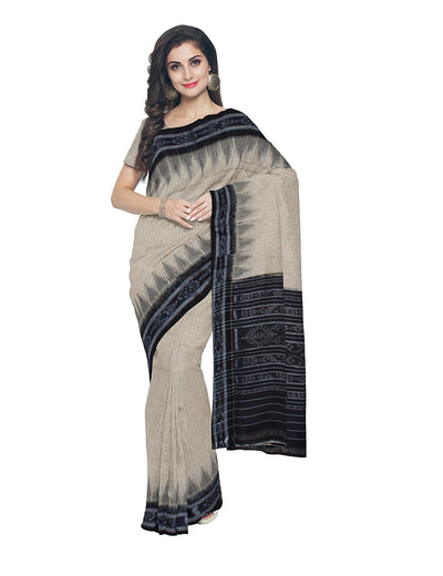 White Black Handloom Nuapatna Cotton Saree