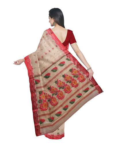 Beige and Red Handloom Tussar Cotton Saree